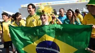 Hinchas de Brasil en Sao Paulo