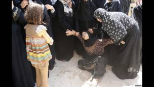 Palestinos durante un funeral