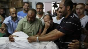 En la imagen, familiares de Abu Tawela junto al cuerpo de éste. Crédito: AP.