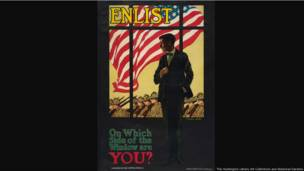 Enlist / On Which Side of the Window Are You?, United States, 1917, Laura Brey (dates unknown), color lithograph, 38 ¾  × 25 ¾ in. The Huntington Library, Art Collections, and Botanical Gardens.