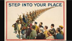 Step into Your Place, United States, 1915, artist unknown, color lithograph, 20 × 30 in. The Huntington Library, Art Collections, and Botanical Gardens.