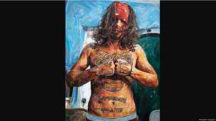 This is ours-AJ. by Michael Vasquez. 2011. Acrylic on canvas. Blair and Arthur Rice.