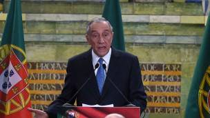 Marcelo Rebelo de Sousa en su primer discurso tras ganar las elecciones en Portugal. Foto de Getty