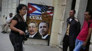 Las calles de La Habana están adornadas con afiches con la cara del presidente Obama