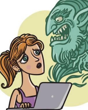 Un dibujo de una chica frente a un ordenador
