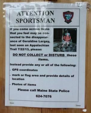 El cartel pidiendo datos sobre el paradero de Largay