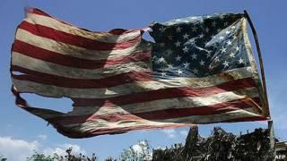 bandera de EE.UU. dañada