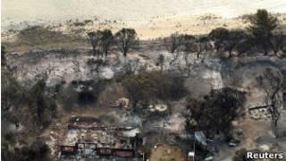 La costa de Tasmania después de los incendios