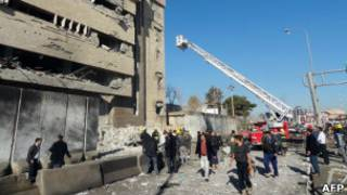 Cuartel de policía de Kirkuk, tras ataque
