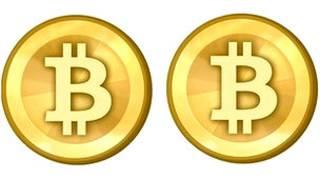 Símbolo de Bitcoin, moneda virtual