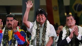 presidentes de Venezuela, Bolivia y Ecuador, reunidos en Cochabamba