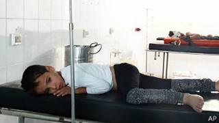 Niño en hopital en Siria