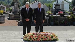 presidentes Francois Hollande (Francia) y Joachim Gauck (Alemania) en Oradour-sur-Glane