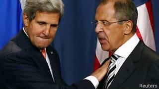 Джон Керри и Сергей Лавров на пресс-конференции в Женеве