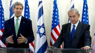 El secretario de Estado de Estados Unidos, John Kerry, y el el primer ministro de Israel, Benjamin Netanyahu