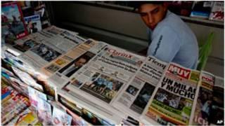 Kiosko de prensa en Argentina