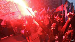 Manifestantes en Polonia