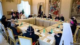El papa Francisco reunido con los líderes católicos del Medio Oriente