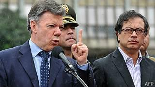Juan Manuel Santos y Gustavo Petro