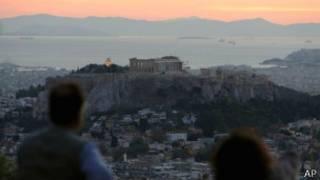 Paisaje en Atenas con la vista del Partenón