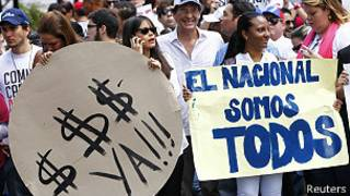 Protesta de la prensa en Caracas