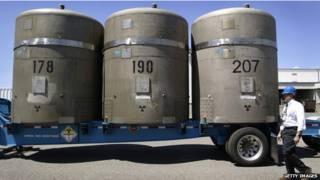 Tanques con residuos radiactivos