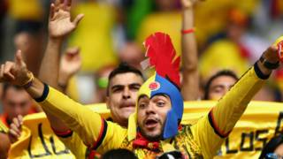 Fans colombianos celebran en Brasil