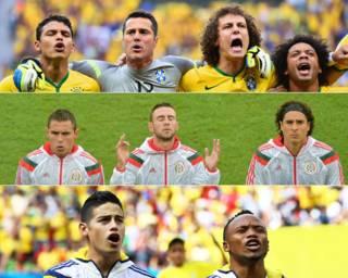 Equipos de Brasil, México y Colombia entonando su himno nacional