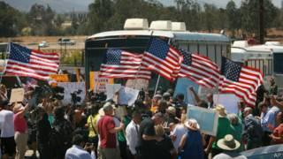 Protesta en Murrieta, California