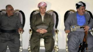 Massoud Barzani (centro) dijo que es hora de que los kurdos decidan sobre su destino.