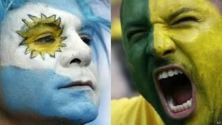 Montagem torcedor brasileiro e argentino   Crédito: AP