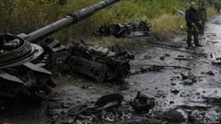 Soldados ucranianos cerca de Slaviansk