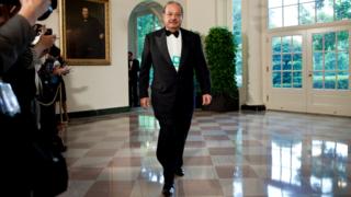 Carlos Slim al llegar a la Casa Blanca. Foto: Getty