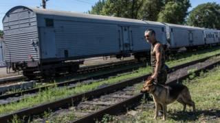 Tren con vagones refrigerados