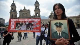 Protestas en Bogotá en 2012 por los secuestrados por la guerrilla.
