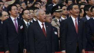 中联办主任张晓明、前特首董建华与现任香港特首梁振英