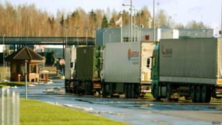 Очередь грузовиков на границе