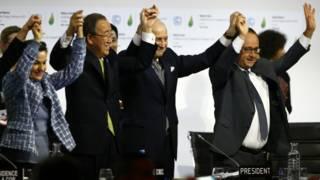 Christiana Figueres, Ban Ki-moon. Laurent Fabius y Francois Hollande.