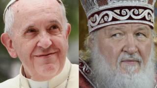 El papa y el patriarca Kirill.