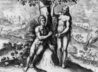Una representación de Adán y Eva en el Edén