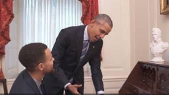 Le président Barack Obama et la star de la Nba Stephen Curry
