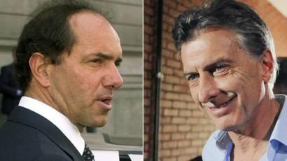 Daniel Scioli (à esq.) e Mauricio Macri (Fotos: Guillermo Viana-NA e Juan Vargas/AFP)