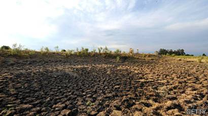 Campo durante sequía en Uruguay