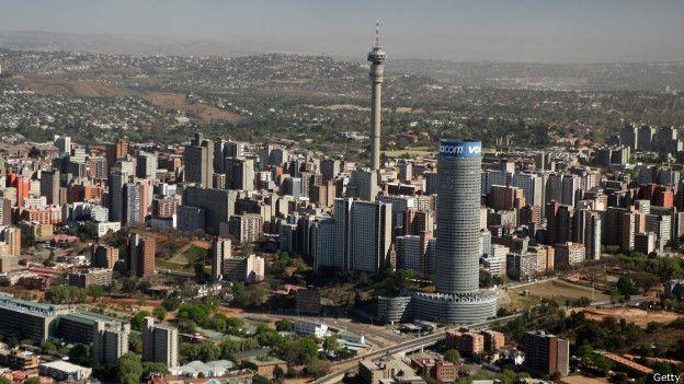 Una vista de Johanesburgo, en Sudáfrica