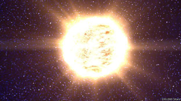 Llegada al sol en la página en la que puedes avanzar entre 1000.000 estrellas cercanas a la Tierra.