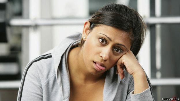 Una mujer agotada