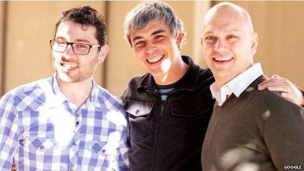 Larry Page junto a Tony Fadell y el otro confundador de Nest, Matt Rogers.