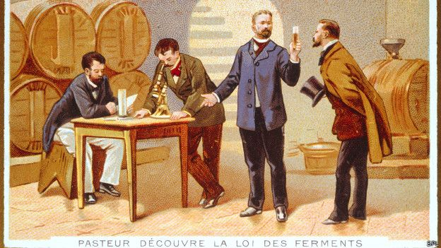 Louis Pasteur investigando la fermentación