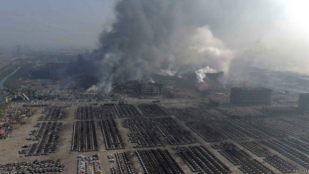 天津爆炸地點全景