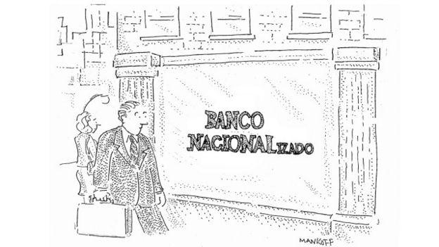 La problemática reciente con los bancos en una viñeta de